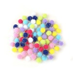 Multi-colored tinsel pom poms