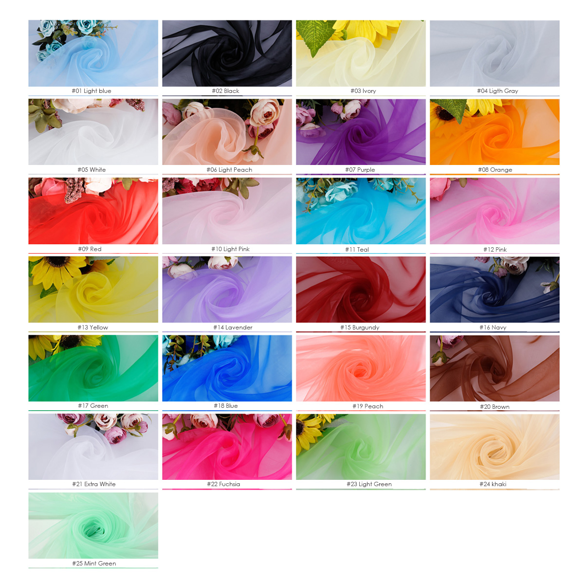 Organza color sheet, color chart